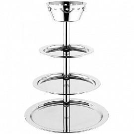 Этажерка для буфета с 6-мя стеклянными чашами d14-23см с крышками, 48х40см, дерево